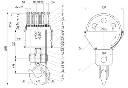 Устройство крюковой подвески грузоподъемностью 63 тонны